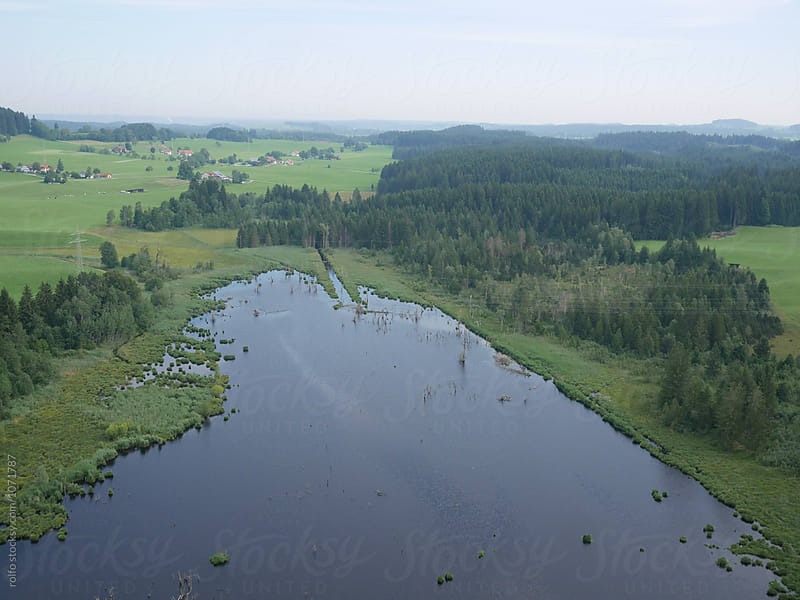 Aerial shot from drone of river in countryside by rolfo for Stocksy United