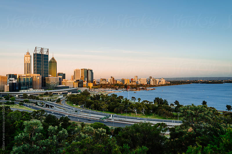 Perth city in the afternoon light by Gillian Vann for Stocksy United
