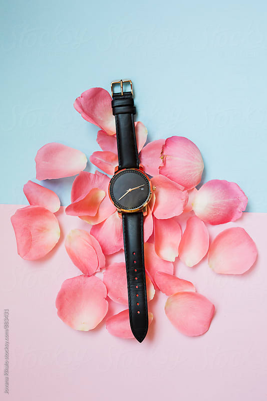 Black watch on a pastel background by Jovana Rikalo for Stocksy United