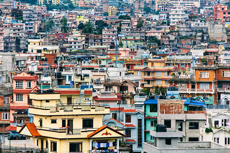Buildings and houses pattern on city of Kathmandu, Nepal by Alejandro Moreno de Carlos for Stocksy United