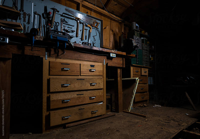 Old Workshop Shed with Workbench and Tools by suzanne clements for Stocksy United