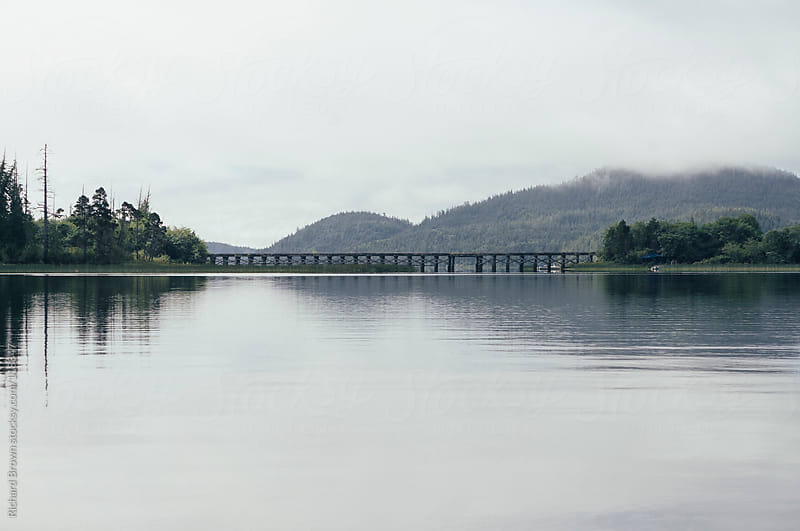 Small trestle bridge over a lake by Richard Brown for Stocksy United