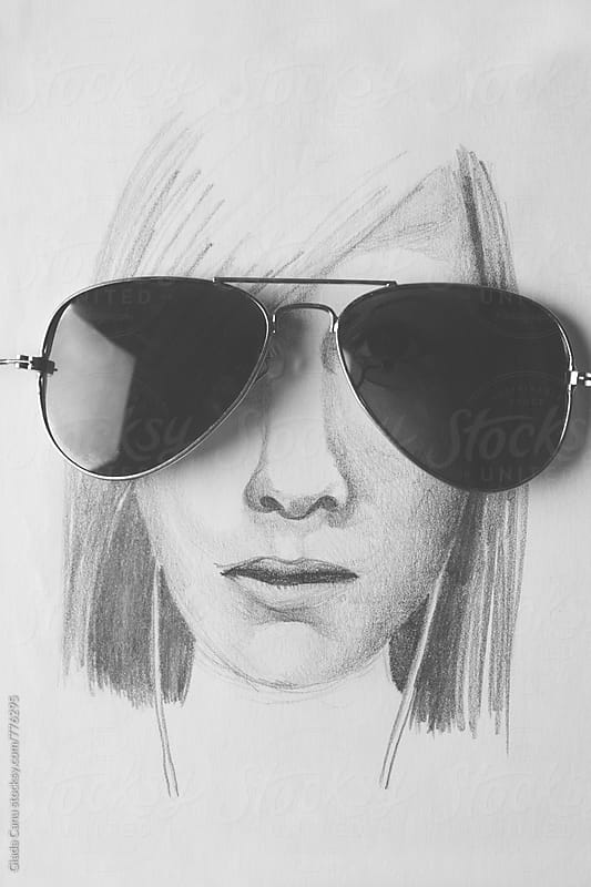 Hand drawn portrait of a woman with real sunglasses by Giada Canu for Stocksy United