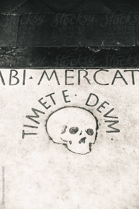 detail of a tomb stone by Juri Pozzi for Stocksy United