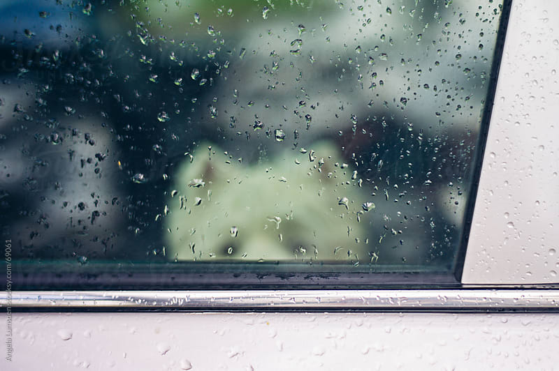 Car window covered in raindrops by Angela Lumsden for Stocksy United