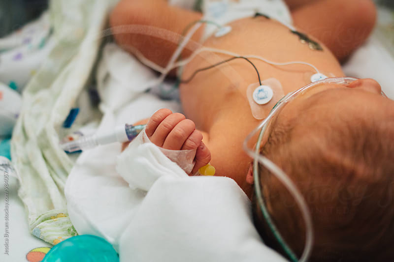 Newborn baby boy in an isolette in a neonatal intensive care unit. by Jessica Byrum for Stocksy United