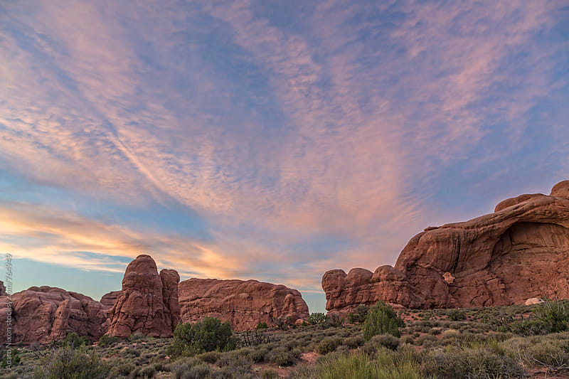 Rock formations Arches National Park, Utah at sunset by Adam Nixon for Stocksy United