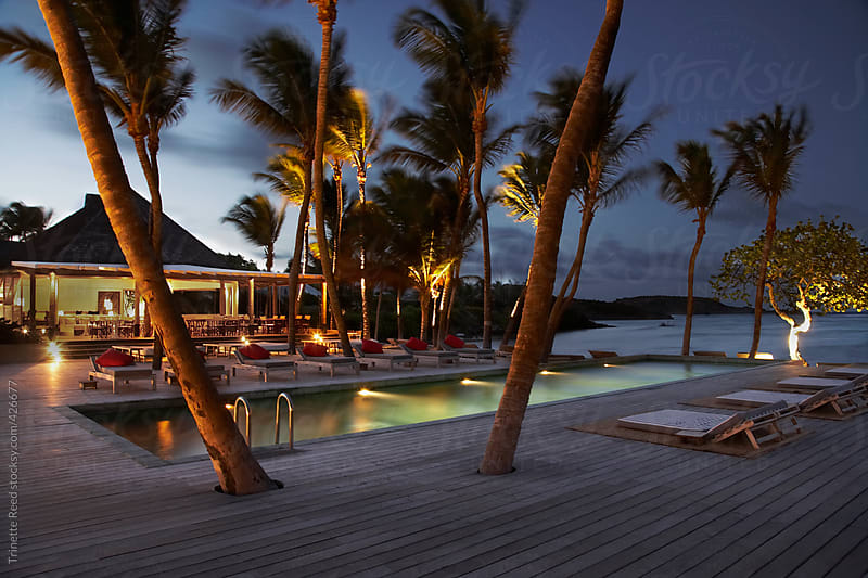 Luxury resort at night on the island of St. Barths by Trinette Reed for Stocksy United