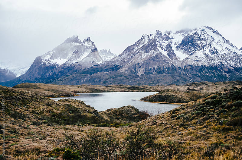 Cuernos Mountain in Torres del Paine National Park Chile on a winter day by Constanza Caiceo for Stocksy United