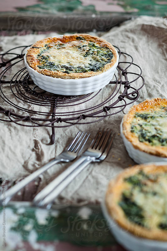 Mini Spinach Quiches by Susan Brooks-Dammann for Stocksy United