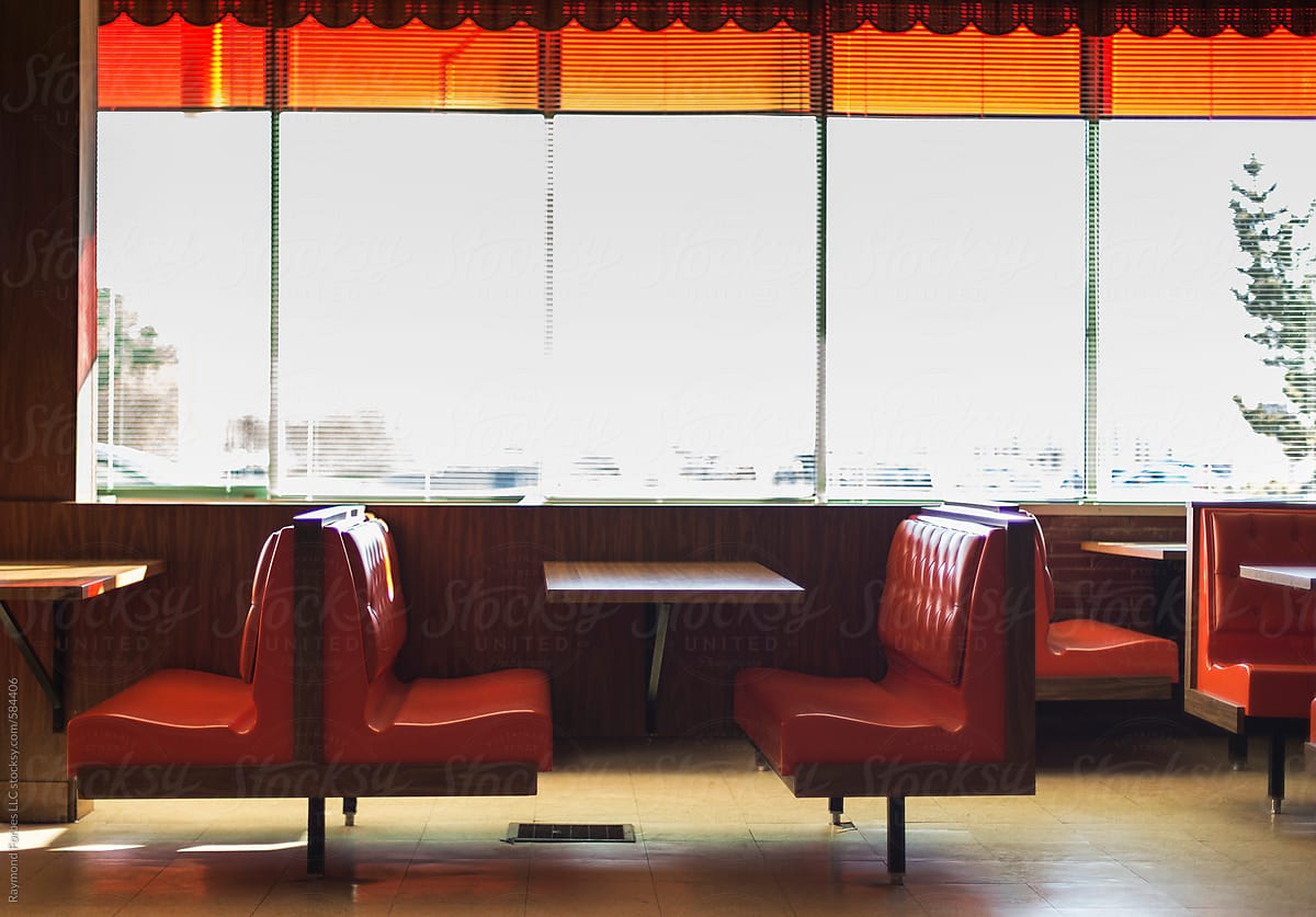 Diner Booth In Vintage American Diner Restaurant By Raymond Forbes Photography Vintage Diner Stocksy United