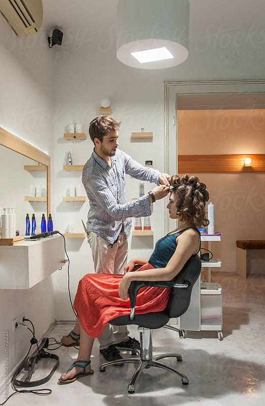 Hair Stylist Working in His Salon by Mosuno for Stocksy United