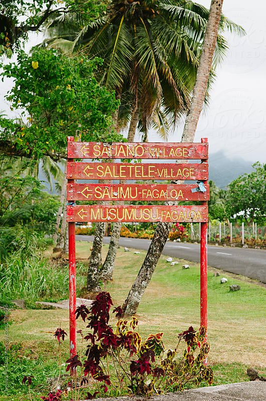 Village sign, Upola Island, Samoa. by Thomas Pickard for Stocksy United