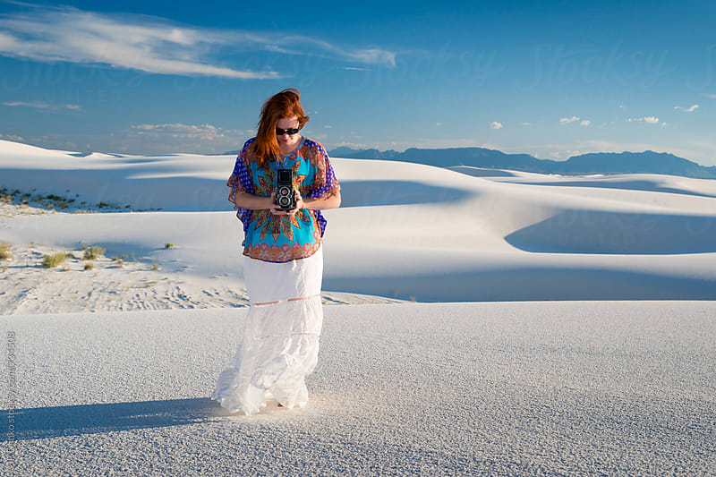 Photographer at White Sands National Monument New Mexico With Vintage TLR Film Camera by JP Danko for Stocksy United