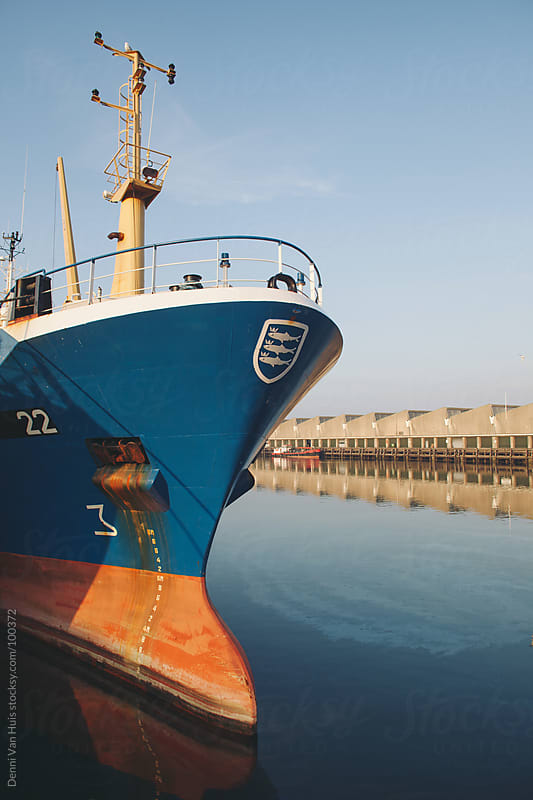 Front of a ship in a harbour by Denni Van Huis for Stocksy United