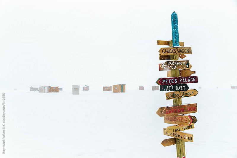 Ice Fishing Village on Lake Winnepesaukee New Hampshire by Raymond Forbes LLC for Stocksy United
