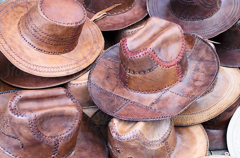 Numerous Mexican handmade cowboy leather hats by Alice Nerr for Stocksy United