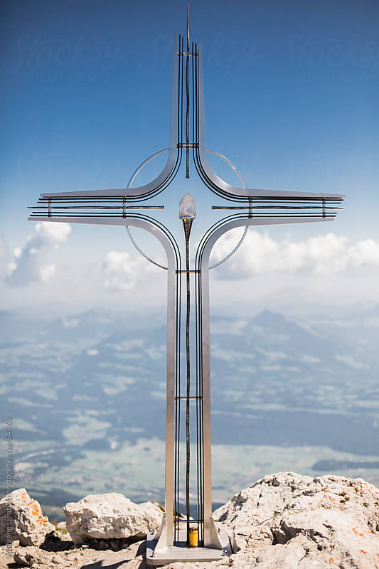 cross on the summit of the high goell in Austria (Hoher Göll) by Wolfgang Lienbacher for Stocksy United