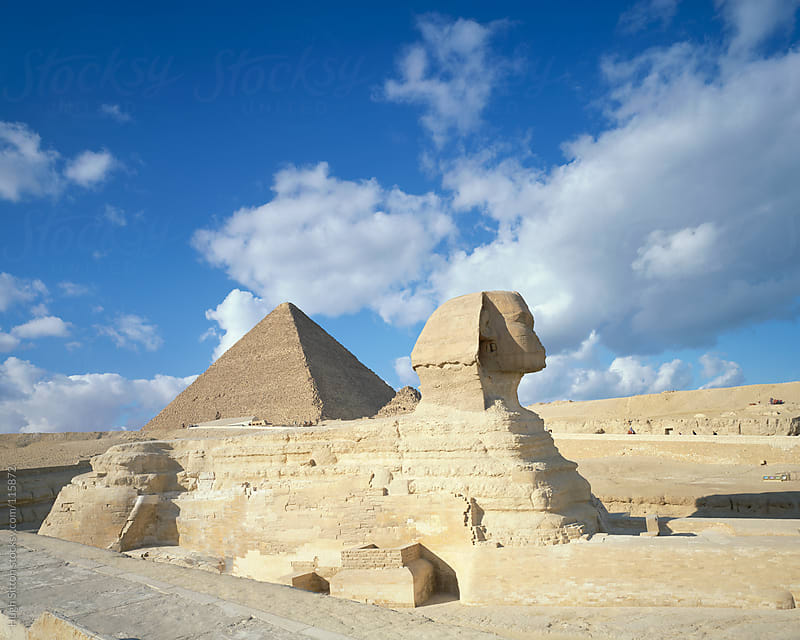 Sphinx and Pyramids of Cairo. Egypt. by Hugh Sitton for Stocksy United