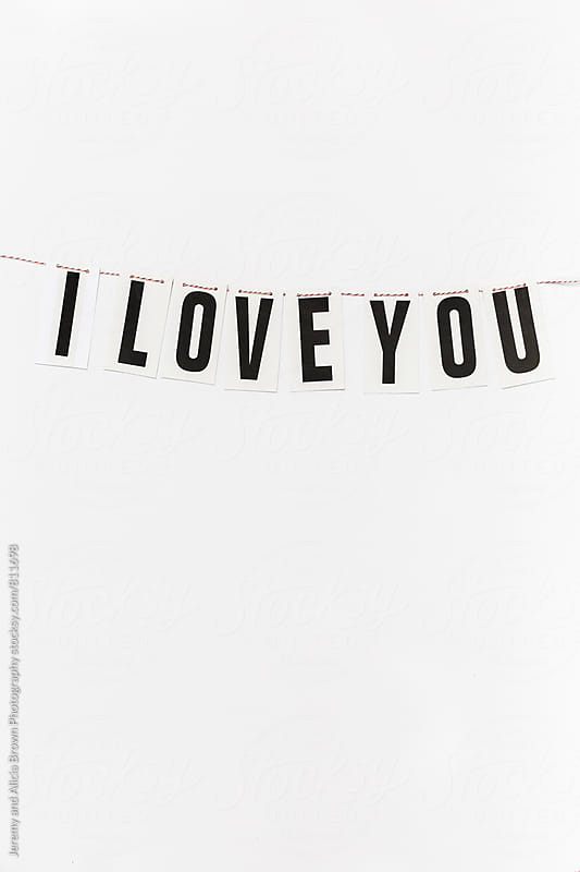 I Love You banner on a string by Jeremy and Alicia Brown Photography for Stocksy United