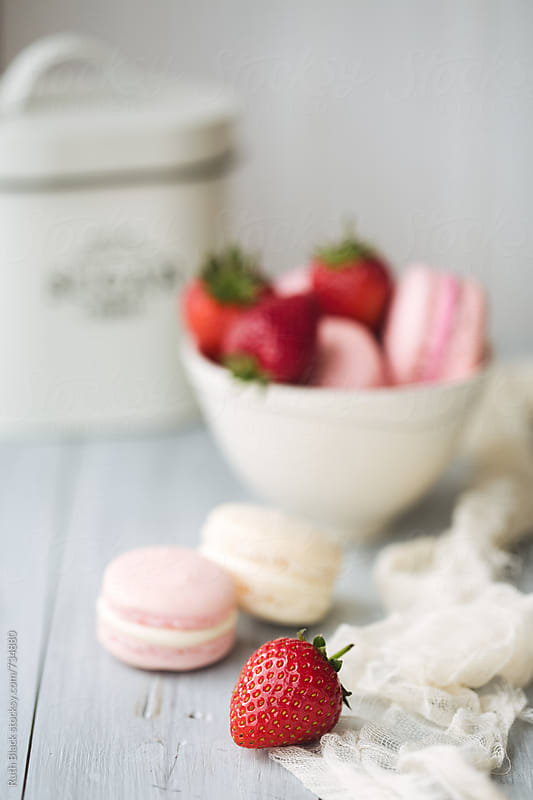 Macarons with strawberries by Ruth Black for Stocksy United