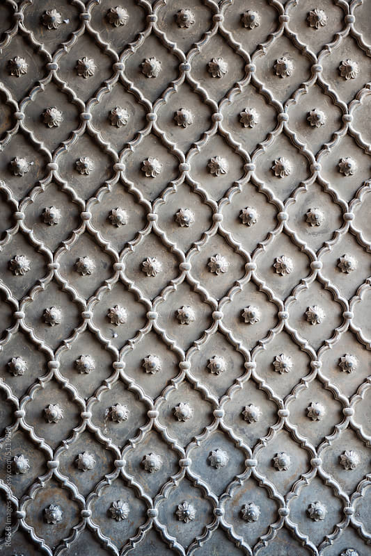 design detail on metal door at Jama Masjid  by RG&B Images for Stocksy United