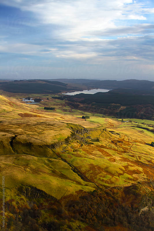 An aerial view of the Scottish countryside by Andy Campbell for Stocksy United