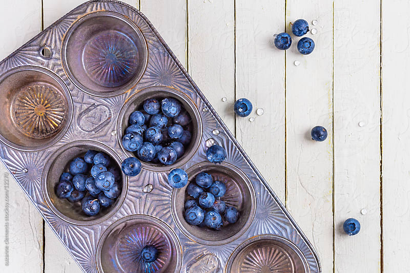 Fresh Organic Blueberries and Muffin Tin on White by suzanne clements for Stocksy United