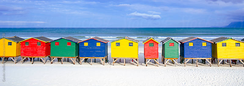 Colourful beach bathing huts, Muizenburg, False Bay, Cape Town, South Africa, Africa by Gavin Hellier for Stocksy United