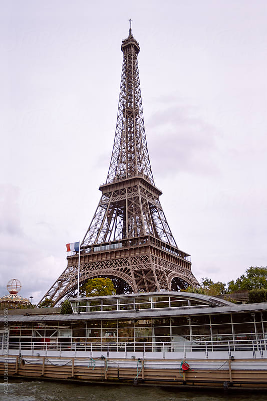 Eiffel Tower from Seine river by ACALU Studio for Stocksy United