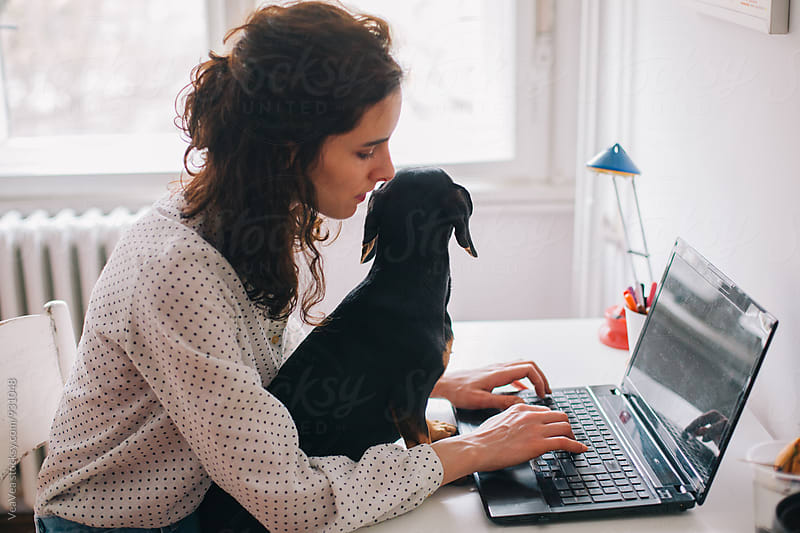 Woman working on a laptop holding her dog on a lap by Marija Mandic for Stocksy United