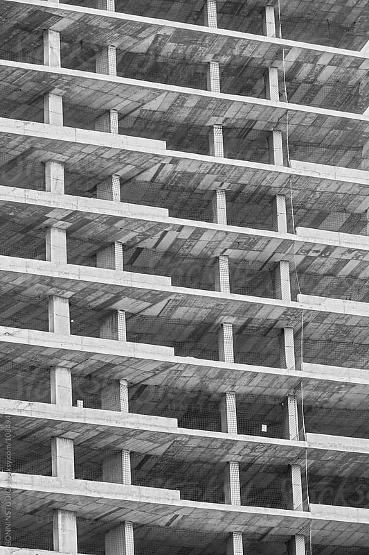 Incomplete building. Black and white photo. by BONNINSTUDIO for Stocksy United
