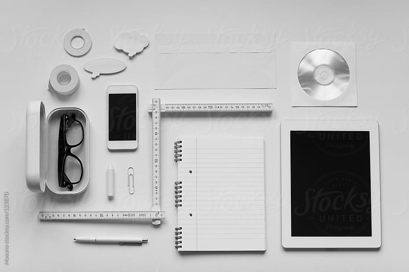 Various white objects arranged on a white background. by Mosuno for Stocksy United