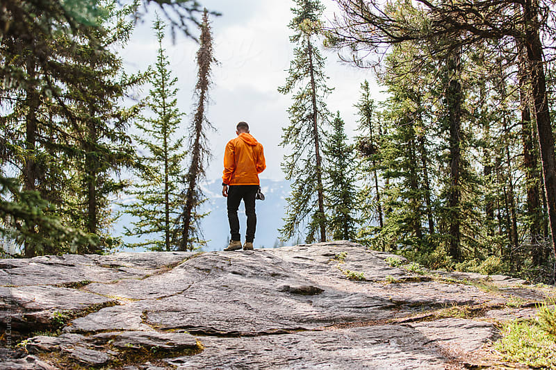 A man standing at the edge of a cliff in the middle of the forest by Kristen Curette Hines for Stocksy United