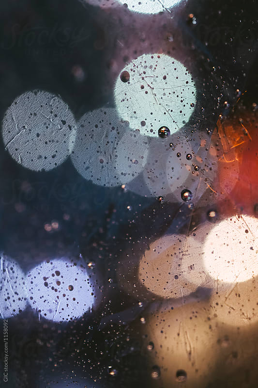 Rain drop background in the city