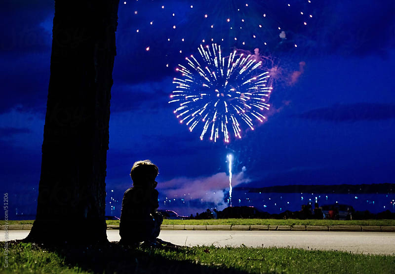 Boy sits under tree watching fireworks explode in the sky above by Cara Dolan for Stocksy United