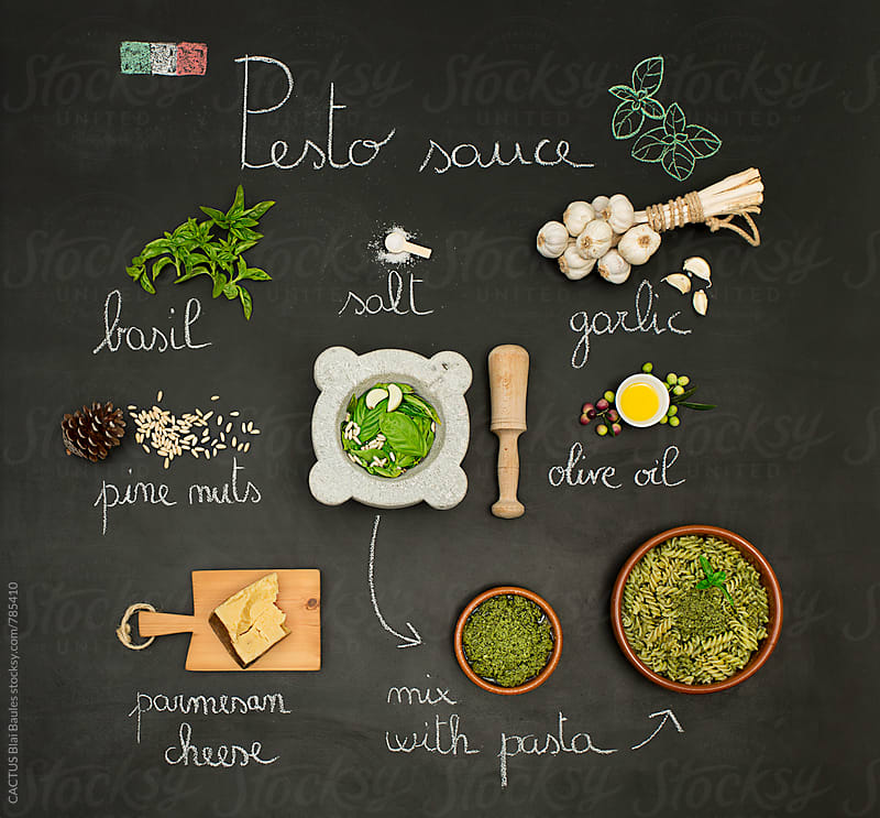 Pesto sauce recipe by CACTUS Blai Baules for Stocksy United