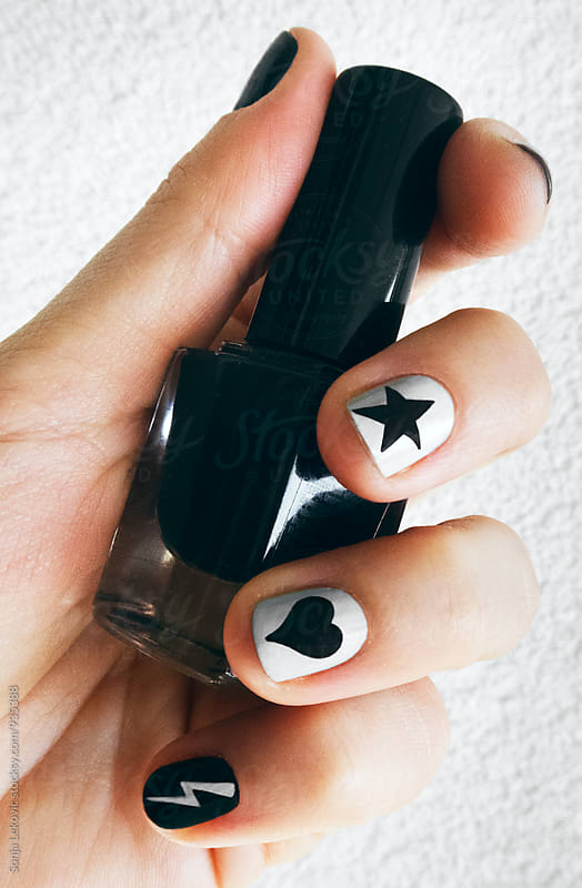 black and white manicure by Sonja Lekovic for Stocksy United