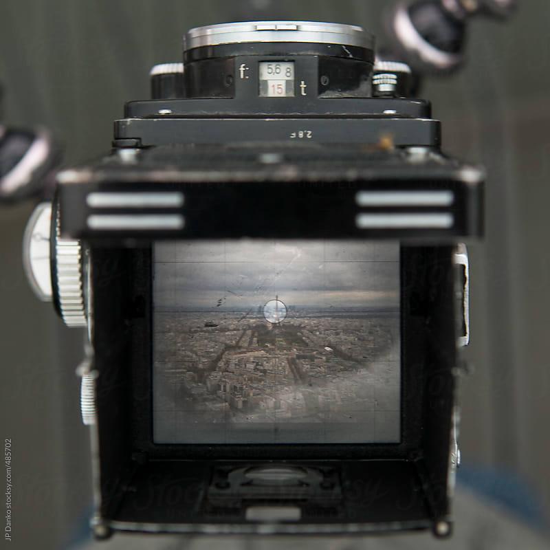 Vintage Film Medium Format Camera Photographing Paris Skyline by JP Danko for Stocksy United