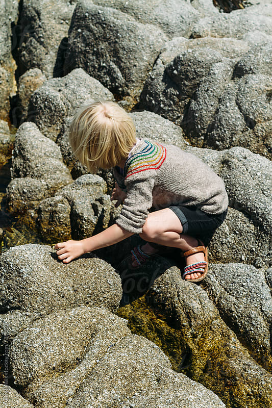 girl traversing rocks at lowtide by Jess Lewis for Stocksy United