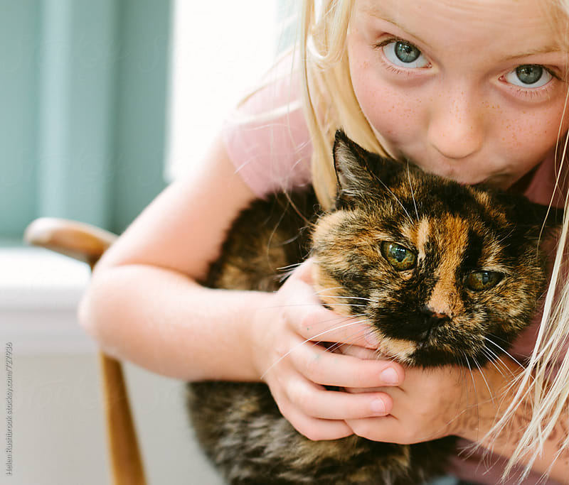 A little girl loving her pet cat just a little too much. by Helen Rushbrook for Stocksy United