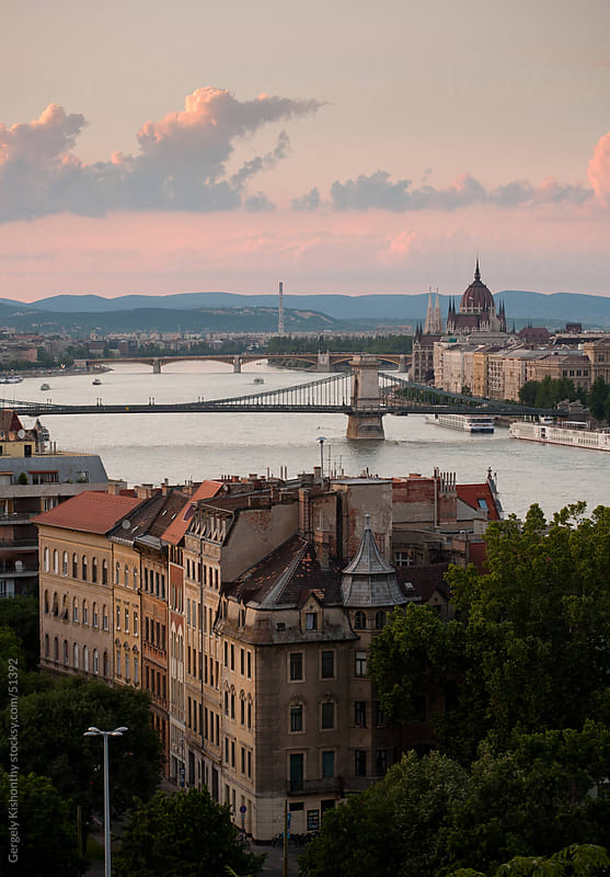 Budapest and Danube early evening. by Gergely Kishonthy for Stocksy United