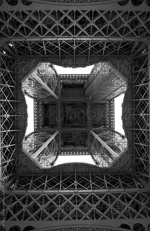 Underside of Eiffel Tower in B&W by ACALU Studio for Stocksy United