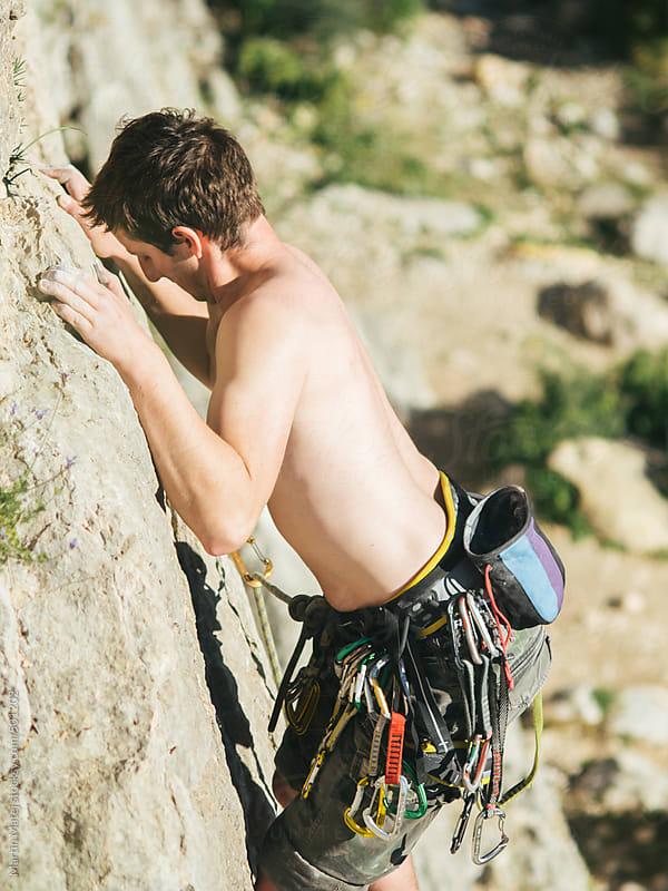 Climber climbing on a rock in el chorro by Martin Matej for Stocksy United