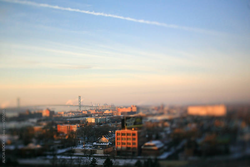 Winter In Detroit Looking Towards Canada And The Ambassador Bridge by ALICIA BOCK for Stocksy United