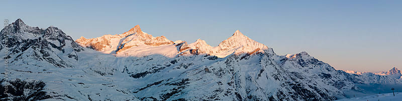Mountains of Switzerland: Panorama with Weisshorn from Gornergra by Peter Wey for Stocksy United