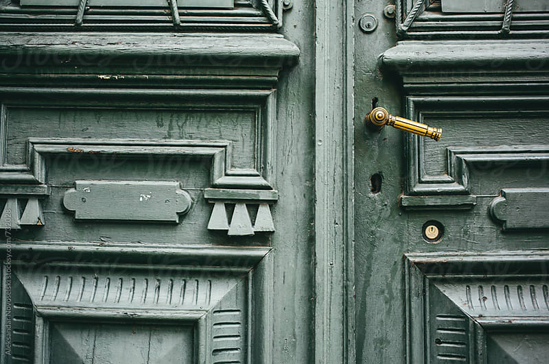 Detail of vintage green door by Aleksandar Novoselski for Stocksy United