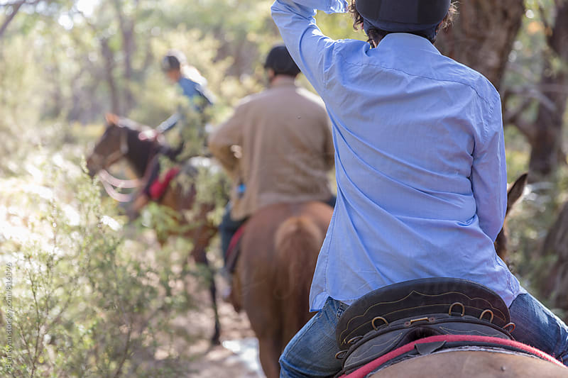 Back of female on horseback in a column of trail riders in Australian bush by Ben Ryan for Stocksy United