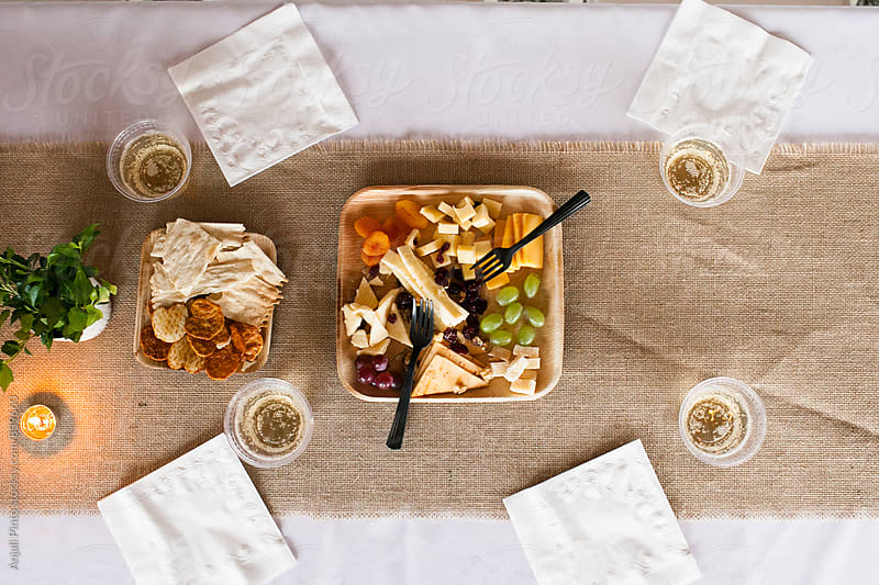 Cheese Plate from Above at Outdoor Reception by Anjali Pinto for Stocksy United