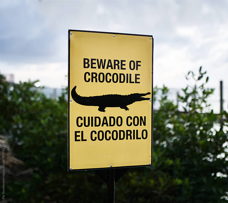 Beware of crocodile sign by Per Swantesson for Stocksy United